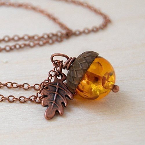 Enchanted Leaves - Amber and Copper Acorn Necklace - Man Made Amber - Cute Nature Charm Necklace