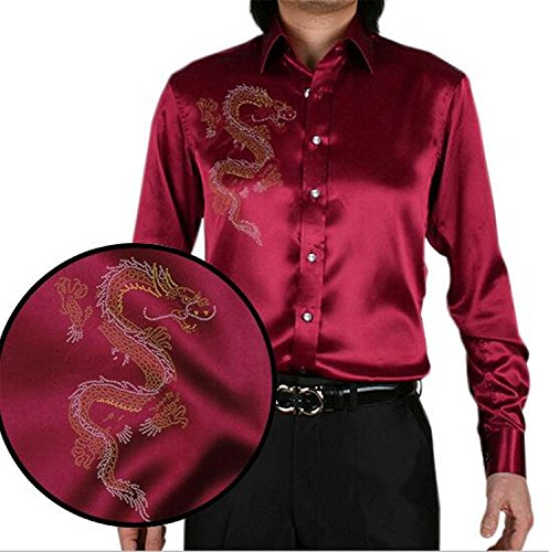 Clothing Square Slim New Fashion Design Chinese Dragon Printing Men's Silk Shirt Casual Men Long Sleeve Summer Wedding Dress Shirt Party Shirt Cool 12X-Large Bridal Dresswedding Gown