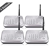 Wireless Intercom System, TekeyTBox 1800 Ft Long Range 10 Channel Digital FM Wireless Intercom System for Home and Office Walkie Talkie System for Outdoor Activity (4 Stations Silver)