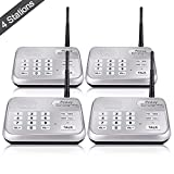 Wireless Intercom System (2017 Version), TekeyTBox 1800 Feet Long Range 10 Channel Digital FM Wireless Intercom System for Home and Office Walkie Talkie System for Outdoor Activitie(4 Stations Silver)