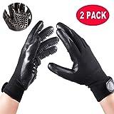 IMPHOM Pet Gloves Grooming Brush for Cat Dog Glove Hair Brish Fur Deshedding Tool Bath Mitt Groomer for House-Right & Left (Black)