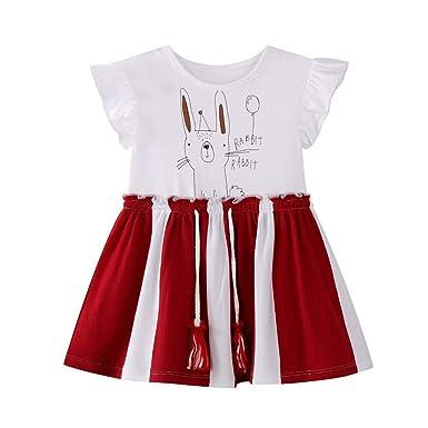 8e671448dd4a2 LUBTY Robe Enfants Bébé Fille Rayé Bunny Lettre Imprimer RobeChic Volant  Manches Taille Ceinture Puff Robe