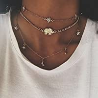 Dolland Golden FashionElements Street Necklace Shooting Shiny Diamond Simple Star Necklace