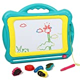 AMOSTING Magnetic Drawing Board,Travel Doodle Sketch Board Drawing Educational Toy for Kids to Draw on Magic Scribble Boards with Funny Stamps