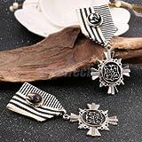 1x Steampunk Badge Brooch Pin Drape Medal Ribbon Costume Party Fancy Dress