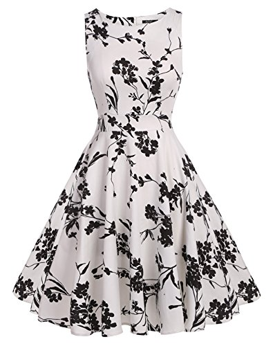 ARANEE Vintage Classy Floral Sleeveless Party Picnic Party Cocktail Dress (L, White+Black)