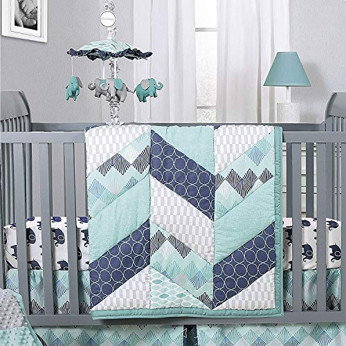 Mosaic Elephant and Geometric 5 Piece Baby Boy Crib Bedding Sets (Bedding Set For Baby Boy Crib)