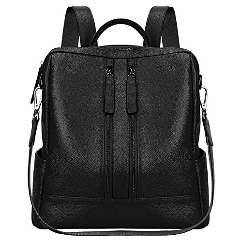 S-ZONE Lightweight Women Genuine Leather Backpack Casual Shoulder Bag Purse (Black)