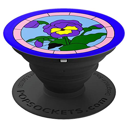Flower Pansy Blossom Perennial Annual Viola Stained Glass - PopSockets Grip and Stand for Phones and Tablets