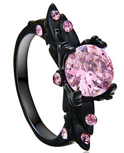 Bishilin-Black-Gold-Plated-Pink-Round-Cubic-Zirconia-Solitaire-Engagement-Rings-For-Womens
