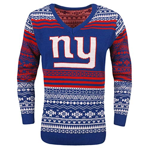FOCO NFL Women's Big Logo Aztec V-Neck Sweater, New York Giants Medium
