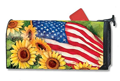 Weather Vinyl Mailbox Cover - MailWraps American Sunflowers Mailbox Cover #01101