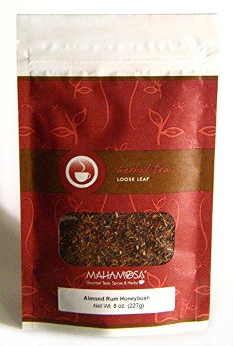 Mahamosa Almond Rum Honeybush Tea 8 oz, Loose Leaf Honeybush Herbal Tea Blend (honeybush, almond, safflower with almond, macadamia nut and rum flavor), Dessert Tea