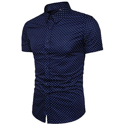 MUSE FATH Men's Printed Dress Shirt-Cotton Casual Short Sleeve Regular Fit Shirt 3