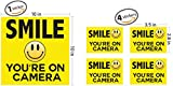 """Smile Your On Camera - Security Signs - Includes (1) 10""""x10"""" inch & (4) 3.5""""x 2.8"""" inch stickers - Security Stickers - Home Security - Video Surveillance Signs - Vandalism Robbery & Theft Prevention"""
