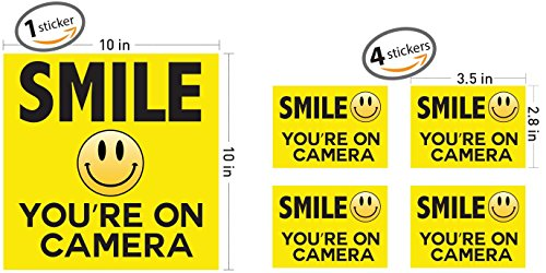 Smile Your On Camera - Security Signs - Includes (1) 10'x10' inch & (4) 3.5'x 2.8' inch stickers - Security Stickers - Home Security - Video Surveillance Signs - Vandalism Robbery & Theft Prevention
