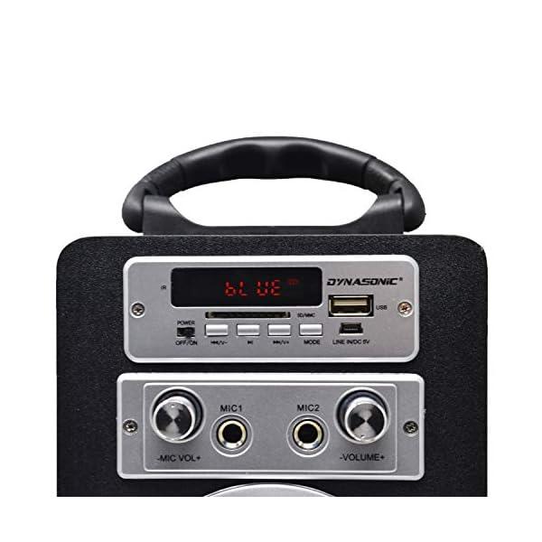 DYNASONIC Enceinte Bluetooth Karaoké Portable série 025 Noir Radio FM, Connexion Bluetooth 2.1, Lecteur SD USB et Microphone 4