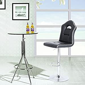 SONGMICS 1 Bar Stool, Adjustable Bar Chair, Adjustable Swivel Breakfast Kitchen Stool with Footrest, Chrome-Plated Steel, Sports Car Seat Design, Black LJB63BUK