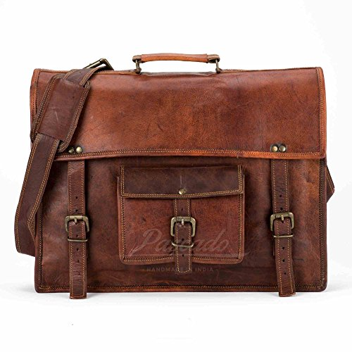15 inch mens Handmade genuine leather laptop messenger computer shoulder briefcase bag