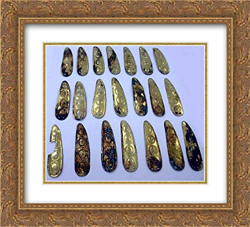 (Chimu Culture - 22x20 Gold Ornate Frame and Double Matted Museum Art Print - Copper Peapod Ornament)