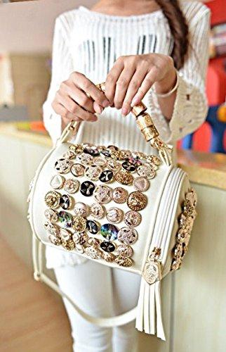 PU Barrel Summer Hot Sale Bag Mini ILISHOP Fashion Tassels Shoulder Cross Bags White body Women's Leather Handbag qXd8dIw