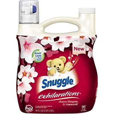 Snuggle Exhilarations Cherry Blossom & Rosewood Concentrated Liquid Fabric Conditioner set of 4, 96 fl. oz per Jug a Total of 384fl. oz