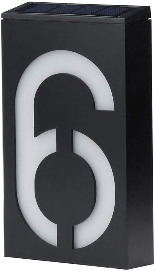 LED Solar House Number Light, Garden Numbers Solar Powered Address Sign LED Illuminated Outdoor Plaques and Wall Art Lighted Up for Home Yard Street (Digit 6)