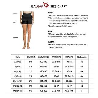 "BALEAF Women's 5"" High Waist Workout Yoga Running Compression Exercise Volleyball Shorts Side Pockets Black XL"
