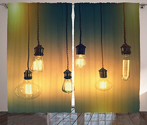 Industrial Decor Curtains Illuminated Retro Style Light Bulbs Lamps Trendy Original Concept for Modern Design Living Room Bedroom Decor 2 Panel Set Yellow Green,Size:2 x 54