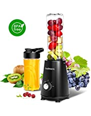 Godmorn Personal Blender Smoothie Maker Juicer 3 Modes Electric Blender with 2 BPA Free Tritan Travel Sport Bottles (400ml +600ml), 350W and 4-leaf Stainless Steel Sharp Blades Protein Shakes