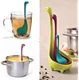 INOVERA (LABEL) Plastic Silicone Kitchen Colander Strainer Ladle Tea Infuser Spoon Nessie Family Set (Multicolour, KC285MULTI)
