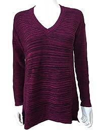 Ellen Tracy Women's Knit V-Neck Marled Pullover Sweater