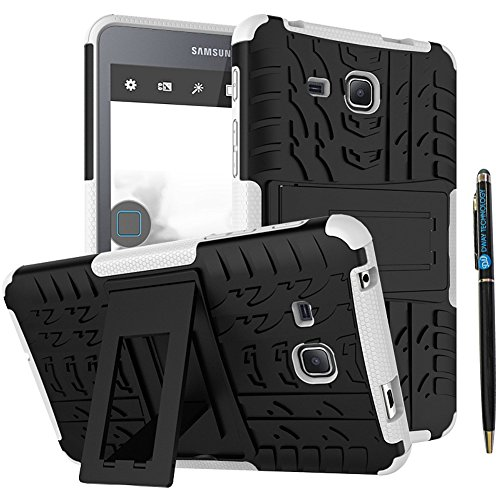 Tab A 7 inch 2016 Case DWaybox 2in1 Combo Hybrid Armor Rugged Heavy Duty Hard Back Cover Case with Kickstand for Samsung Galaxy Tab A 7.0 Inch 2016 SM-T280 / T285 / Samsung Tab A6 A7 7.0 (White)