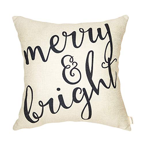 Fahrendom Rustic Merry and Bright Farmhouse Style Christmas Sign Cotton Linen Home Decorative Throw Pillow Case Cushion Cover with Words for Sofa Couch 18 x 18 in