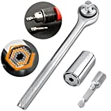 Universal Socket Wrench Set magical grip, EEEkit 3-pack Gator Wrench Socket Kit 7mm to 19mm Ratchet Socket Wrench with Power Drill Adapter - for Men or women, elderly or children