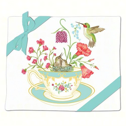 Alice's Cottage Hummingbirds and Teacup Flour Sack Kitchen Towels Set of 2 Cotton