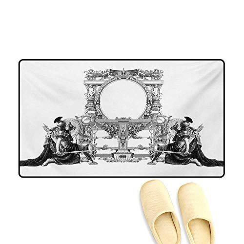- Door Mats,Victorian Frame with a Gladiator Warrior Roman Headpiece Ancient Design,Bath Mats for Bathroom,Black and White,16