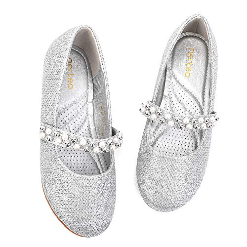 - nerteo Dress Shoes for Girls Mary Jane Comfort Party Princess Shoes Glitter Ballet Flats Silver Glitter 11 M US Little Kid