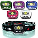 BLITZU Headlamp Flashlight 165 Lumen. Bright Spot White Cree Led + Red Night Light for Kids, Men, Women. Running, Camping, Tent, Hard Hat, Storm, Bike, Miners, Helmet, Trek, Headband Head Torch Black