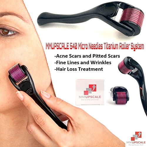 MMUPSCALE 540 Micro Needles Titanium MicroNeedle Derma Roller System. Titanium MicroNeedle Derma Roller, Safe At Home Use For Skin Care. The Tuft of Needle Size is 0.25mm. The Quality You Trust.