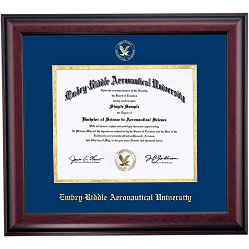 ERAU Eagles Diploma Frame Blue Gold Matting Embossed Seal (Embry Riddle Diploma Frame compare prices)