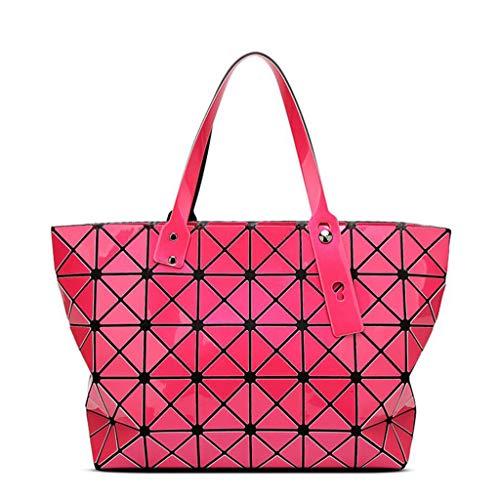 Donna Rosa Diamantati Con Pieghevole Olografici Rossa Fashion Tote Da Geometrica Tracolla Borsa Diamanti YgpqZ