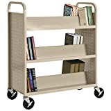 Sandusky Lee SV336-07 Double Sided Sloped Shelf Welded Book Truck, 19'' Length, 39'' Width, 46'' Height, 6 Shelves, Putty
