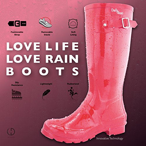 Boots Round Red DailyShoes High Knee Rain Toe Women's qwFOAzH