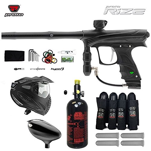 Maddog Proto Rize Paintball Marker w/ Proto Primo Hopper & FS Thermal Goggle Combo Package - Dust Black Autococker Trigger