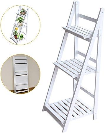 Soporte De Flores Para Planta Plegable Escalera De Madera Independiente Planta De Maceta Expositor De Estante Escalera De Rack Para Jardín Exterior Balcón Sala De Estar Interior Floristería (3 Niveles): Amazon.es: Hogar