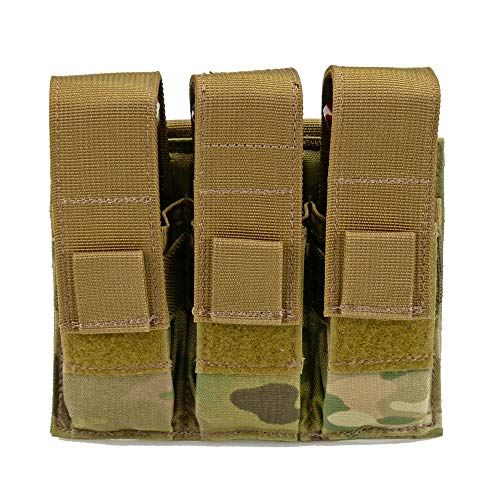 - Triple Pistol Magazine Pouch, Nylon, MOLLE Compatible, Hand-Gun Mag Holder Suitable for Both Single and Double Stack (17,19, 43, 45, 21, 1911) Multitool, Flashlight and Folding Knife (Multicam)