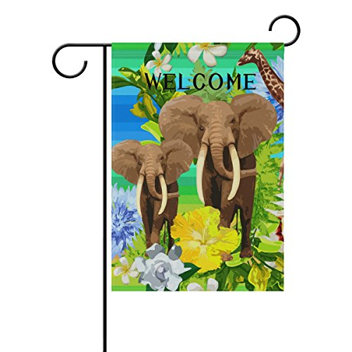 ALAZA Yard Flag Home Decor 12x18 Inch,Jungle Elephant Waterc