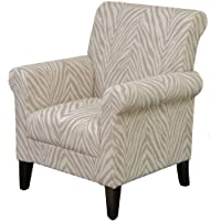 Percy Beige Zebra Fabric Club Chair