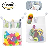 BundlePro Pack of 2 Bath Toy Storage | 2-Layer Polyester Fiber Mesh Net Bag with 4 Pockets | Hanging Bath Room Organizer with Strong Suction Cup Hooks | Quick Dry, Mold Resistant and BPA Free